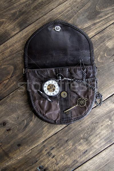 Klasszikus zsebóra öreg táska sárgaréz kulcs Stock fotó © nessokv