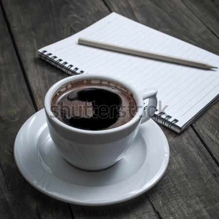 Stock foto: Notebook · Stift · Couchtisch · Papier · Holz