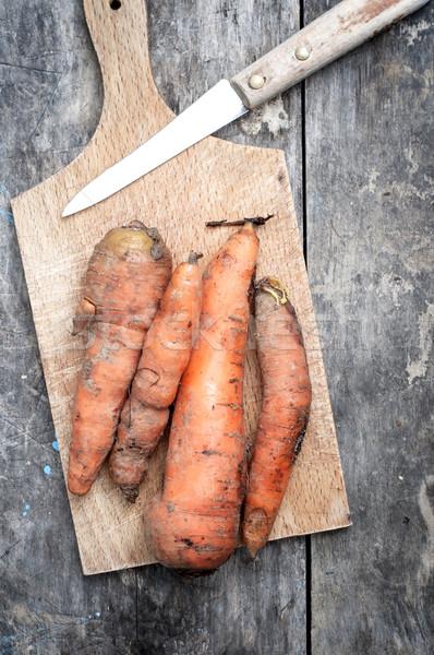 Cenouras faca fresco orgânico Foto stock © nessokv