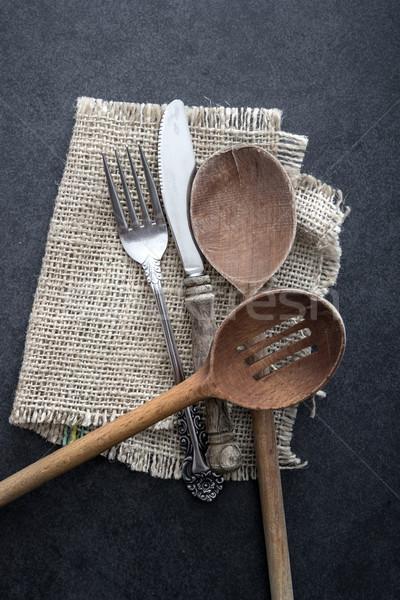 カトラリー 表 混乱 銀 素朴な 木材 ストックフォト © nessokv