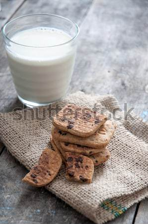 Stack of Chocolate chip cookie and glass of milk Stock photo © nessokv
