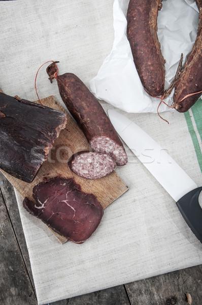 Casero naturales ternera secado carne salchicha Foto stock © nessokv