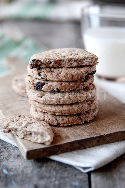 Stacked chocolate chip cookies Stock photo © nessokv