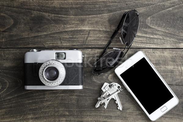 Rétro caméra personnelles téléphone verres Photo stock © nessokv