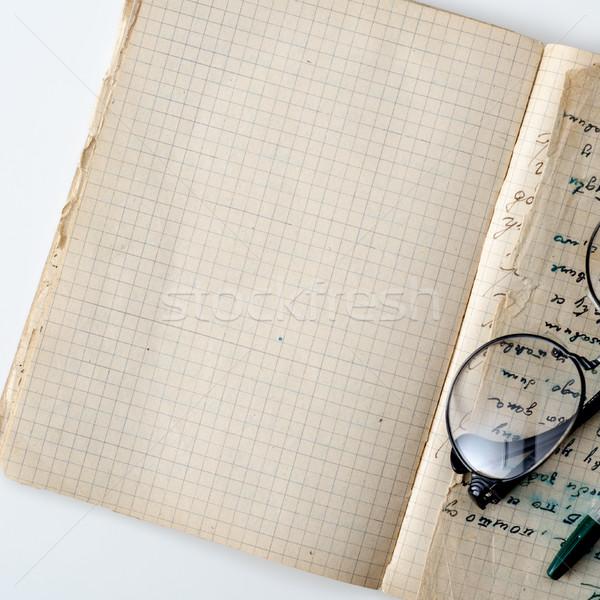 Ufficio tavola vintage notepad copia spazio Foto d'archivio © nessokv