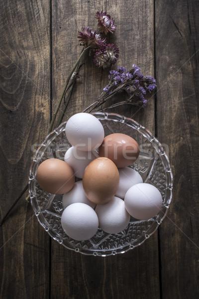 Bruin witte kip eieren glas kom Stockfoto © nessokv