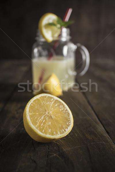 лимонад стекла банку лимона соломы Сток-фото © nessokv