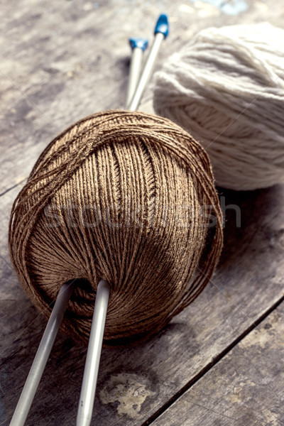 Ball of wools and needles. Stock photo © nessokv