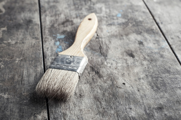 Paint Brush on a Wood Surface Stock photo © nessokv