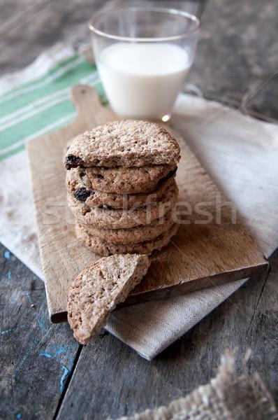 Stock fotó: Csokoládé · chip · sütik · tej · fa · asztal · étel