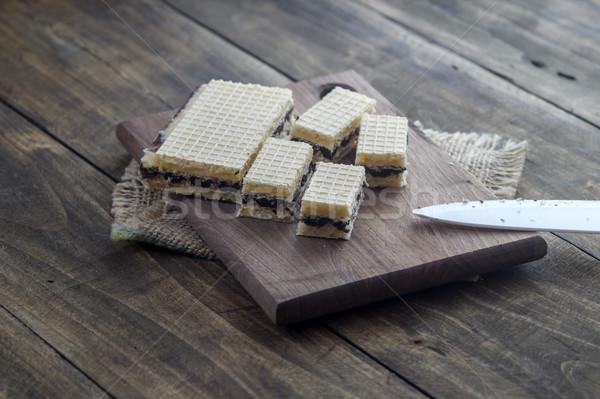 Waffle cake with  chocolate Stock photo © nessokv