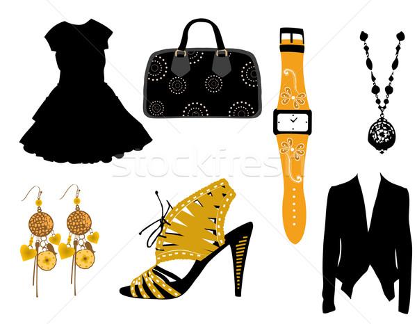 Moda elemanları sağlık güzellik siyah elbise Stok fotoğraf © Nevenaoff