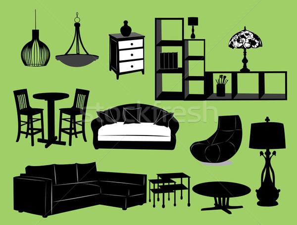 Oturma odası mobilya doku dizayn siyah iç Stok fotoğraf © Nevenaoff