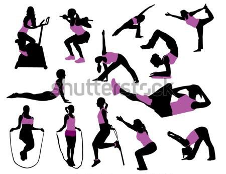 Stok fotoğraf: Spor · siluetleri · spor · salonu · eğlence · dinlenmek · enerji
