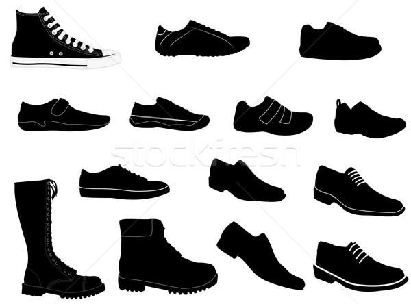 Adam ayakkabı siluetleri dizayn ayak ayakkabı Stok fotoğraf © Nevenaoff