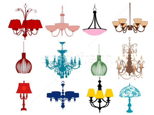 Chandeliers and lamps vector illustration © Nevena Radonja ...
