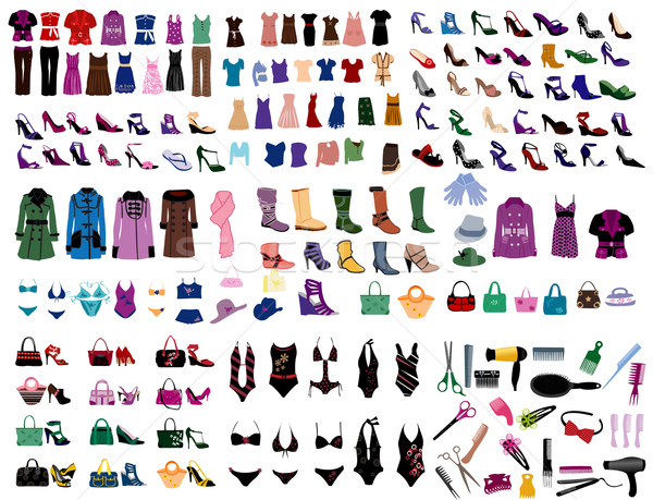 Moda elementy projektu buty shirt sukienka Zdjęcia stock © Nevenaoff