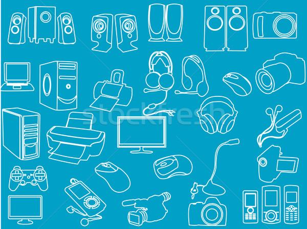 Teknoloji simgeler televizyon arka plan konuşmacı hareketli Stok fotoğraf © Nevenaoff