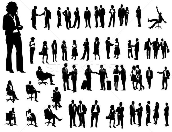 Iş adamları siluetleri iş kadın vücut kalabalık Stok fotoğraf © Nevenaoff