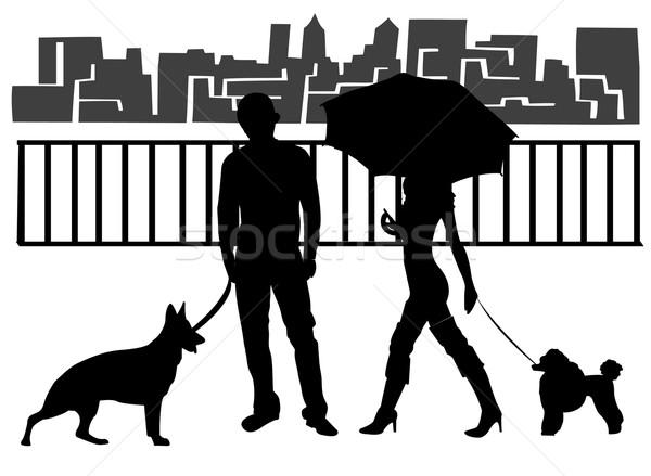 çiftler çift köpekler kız adam moda Stok fotoğraf © Nevenaoff