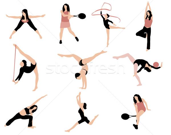 Deportes siluetas gimnasio diversión relajarse energía Foto stock © Nevenaoff