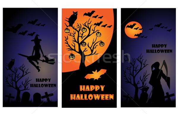 Halloween kart ay gece zaman siyah Stok fotoğraf © Nevenaoff
