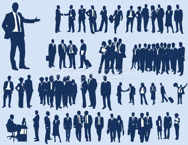 Iş adamları siluetleri iş vücut dizayn kalabalık Stok fotoğraf © Nevenaoff