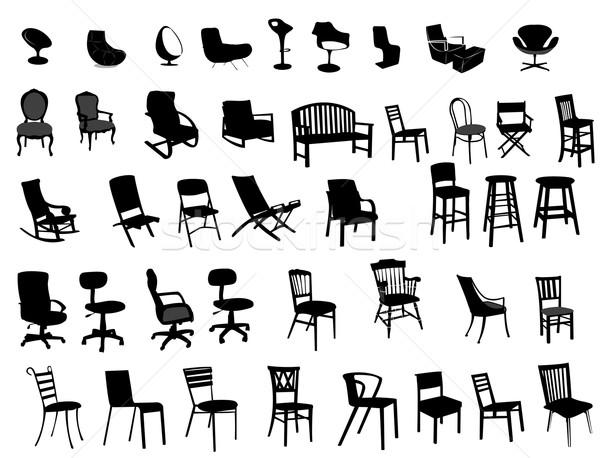 Cadeiras vetor mobiliário silhueta salão vintage Foto stock © Nevenaoff