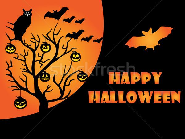 Halloween kaart maan nacht tijd zwarte Stockfoto © Nevenaoff