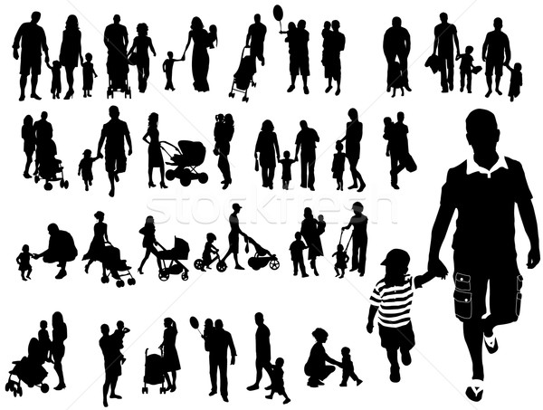 Aile siluetleri adam çocuk eğlence siluet Stok fotoğraf © Nevenaoff