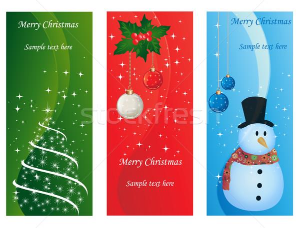 Noel kartları dekoratif ağaç kar ağaçlar Stok fotoğraf © Nevenaoff