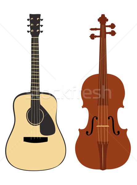 Keman gitar vektör dizayn kaya nesne Stok fotoğraf © Nevenaoff