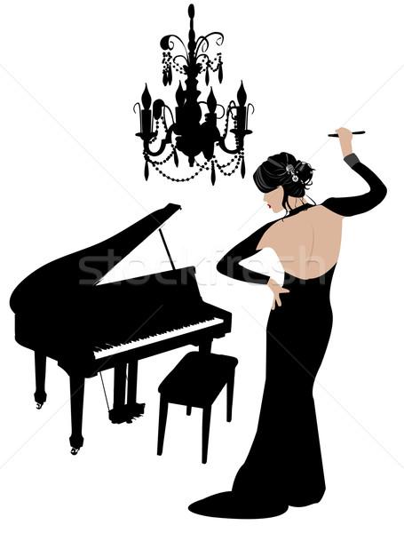 Klasik güzellik güzel kız ayakta yüz kadın Stok fotoğraf © Nevenaoff