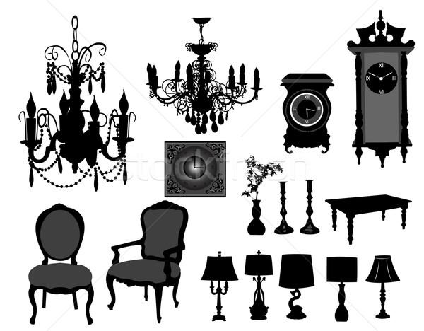 Meubels vector ontwerp kamer stoel zwarte Stockfoto © Nevenaoff