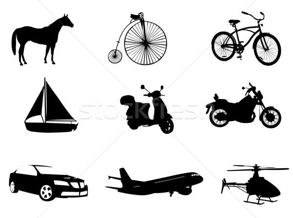 Taşımacılık elemanları at bisiklet tren tekne Stok fotoğraf © Nevenaoff
