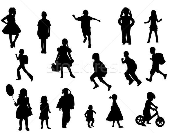 çocuklar vektör kalabalık arka plan sanat grup Stok fotoğraf © Nevenaoff