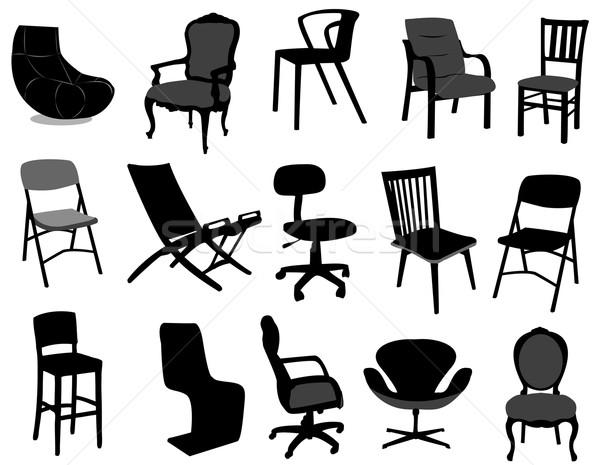 Stoelen vector meubels silhouet salon vintage Stockfoto © Nevenaoff
