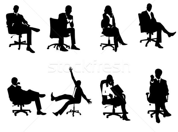 Iş adamları siluetleri iş kız çalışmak vücut Stok fotoğraf © Nevenaoff