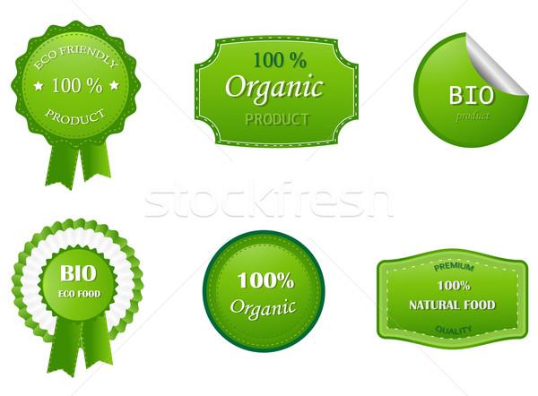 Eco etiketler gıda dizayn yaprak Stok fotoğraf © Nevenaoff