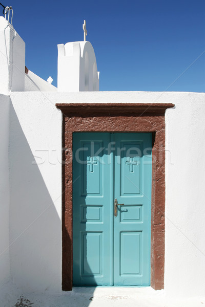 Turquoise Doorway with Brown Framing Stock photo © newt96