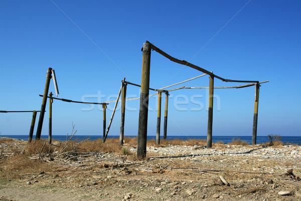 Befejezetlen építkezés tengerpart hiányos elhagyatott ház Stock fotó © newt96