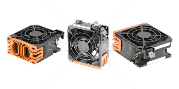 Stock fotó: Hűtés · szurkolók · három · különböző · ventillátor · izolált