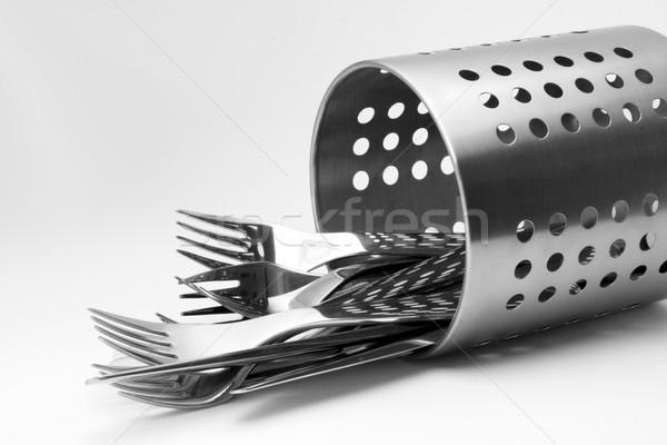 Sztućce zestaw czyste błyszczący aluminium stoją Zdjęcia stock © newt96