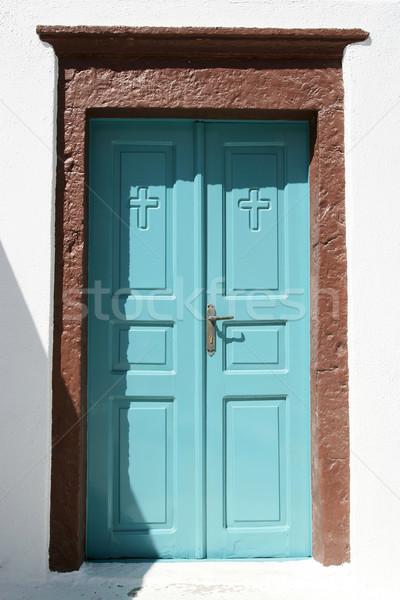 Pastoral turkuaz giriş haçlar mimari Stok fotoğraf © newt96