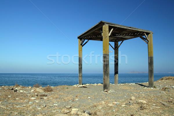 Befejezetlen építkezés tengerpart égbolt ház épület Stock fotó © newt96