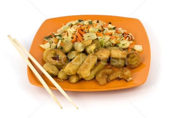 孤立した プレート シーフード 野菜 箸 ストックフォト © newt96