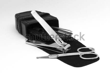 Narzędzia manicure czarny przypadku odizolowany biały Zdjęcia stock © newt96