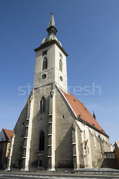 Foto stock: Catedral · Bratislava · relógio · igreja · urbano · linha · do · horizonte