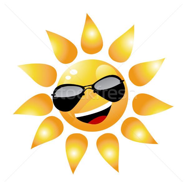 Foto stock: Vector · Cartoon · sol · carácter · puesta · de · sol · verano