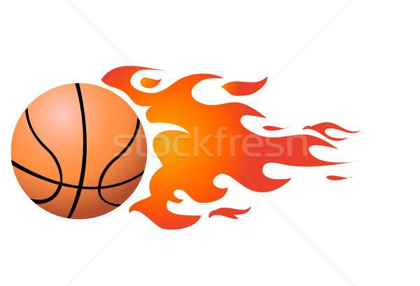 Vector Flaming Basketball Stock photo © nezezon